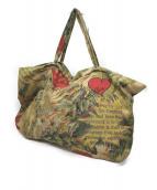 Vivienne Westwood(ヴィヴィアンウエストウッド)の古着「プリントフラッキングトートバッグ」|グリーン