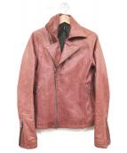 glamb(グラム)の古着「ラムレザーライダースジャケット」|レッド
