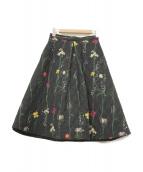 AKIRA NAKA(アキラ ナカ)の古着「花柄キルティングスカート」|ブラック