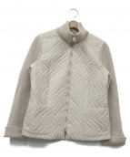 Salvatore Ferragamo(サルヴァトーレフェラガモ)の古着「ニット切替キルティングジャケット」|ベージュ