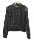 ADEAM(アディアム)の古着「レザー切替ウールブルゾン」|ブラック