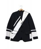 yoshio kubo(ヨシオクボ)の古着「デザインテーラードジャケット」|ブラック×ホワイト