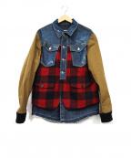 DSQUARED2(ディースクエアード)の古着「デニム切替ジャケット」|レッド×ブラウン