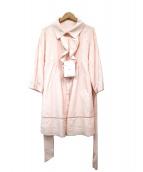 courreges(クレージュ)の古着「シルク混フリルベルト付きワンピース」|ピンク