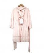 courreges()の古着「シルク混フリルベルト付きワンピース」|ピンク