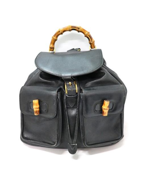 GUCCI(グッチ)GUCCI (グッチ) バンブーオールレザーリュック ブラック 003・2058・0016の古着・服飾アイテム