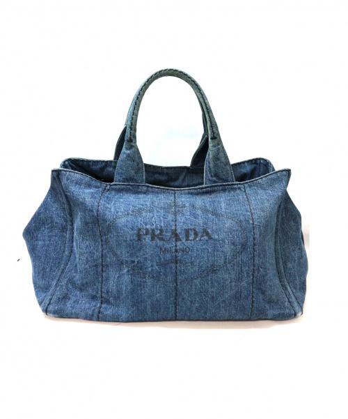 PRADA(プラダ)PRADA (プラダ) デニムカナパトートバッグ ネイビー イタリア製の古着・服飾アイテム