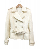 courreges(クレージュ)の古着「シャギーニットPコート」|ホワイト