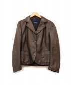 S Max Mara(エス マックスマーラ)の古着「ラムレザーテーラードジャケット」|ブラウン