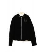 lucien pellat-finet(ルシアンペラフィネ)の古着「中綿ベロアジャケット」 ブラック