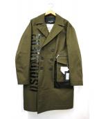 DSQUARED2(ディースクエアード)の古着「ロゴプリントピーコート」|グリーン