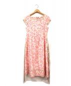 courreges(クレージュ)の古着「花柄ブラウスワンピース」|ピンク