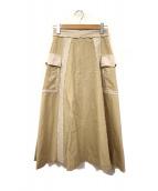 RAY BEAMS(レイビームス)の古着「バイカラーラインスカート」|ブラウン
