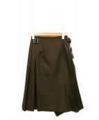 ONEIL OF DUBLIN(オニール オブ ダブリン)の古着「ピン留めミディ丈ラップスカート」|カーキ