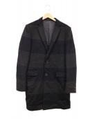 KOLOR(カラー)の古着「ボーダーカシミヤ混チェスターコート」 ネイビー