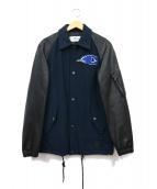 COACH(コーチ)の古着「レザー袖スタジャン」|ネイビー
