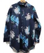NARA CAMICIE(ナラカミーチェ)の古着「フラワープリント総柄シャツ」|ネイビー