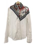 yoshio kubo(ヨシオクボ)の古着「スカーフ柄デザインシャツ」|ホワイト
