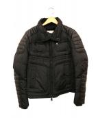 MONCLER(モンクレール)の古着「レザーワッペンダウンジャケット」|ブラック