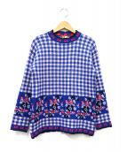 MSGM(エムエスジーエム)の古着「フラワーチェック柄ニット」|ブルー