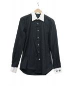 lucien pellat-finet(ルシアンペラフィネ)の古着「スカル総柄クレリックシャツ」 ブラック