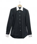 lucien pellat-finet(ルシアン・ペラフィネ)の古着「スカル総柄クレリックシャツ」|ブラック