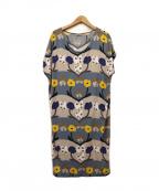 marimekko(マリメッコ)の古着「レーヨン総柄ワンピース」|グレー