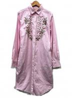 BROOKS BROTHERS Red Fleece(ブルックスブラザーズレッドフリース)の古着「刺繍シャツワンピース」|ピンク
