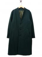 SHIPS(シップス)の古着「ノーカラーチェスターコート」|グリーン