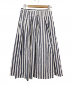 GRANDMA MAMA DAUGHTER()の古着「ストライププリーツスカート」|ブルー×ホワイト
