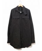 RICK OWENS(リックオウエンス)の古着「ロングシルエットシャツ」|ブラック