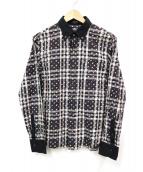 ()の古着「ロゴ総柄チェックシャツ」 ブラウン