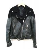 DIESEL(ディーゼル)の古着「ゴートスキンダブルライダースジャケット」|ブラック