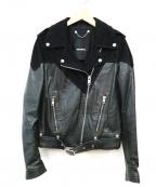 DIESEL()の古着「ゴートスキンダブルライダースジャケット」|ブラック