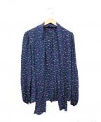 Christian Dior()の古着「総柄プリーツブラウス」 ネイビー