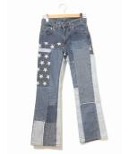 Hysteric Glamour(ヒステリックグラマー)の古着「パッチワークデニムパンツ」|ブルー