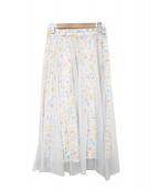()の古着「プリーツチュールプリントスカート」|ホワイト