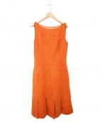 FOXEY BOUTIQUE(フォクシー ブティック)の古着「ノースリーブワンピース」|オレンジ
