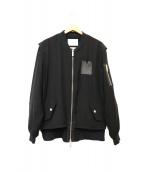 yoshio kubo(ヨシオクボ)の古着「メッシュレイヤード調MA-1ジャケット」|ブラック
