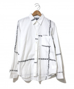 BLACK COMME des GARCONS(ブラックコムデギャルソン)の古着「フロントスリット加工プリントシャツ」 ホワイト