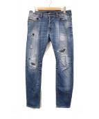 DIESEL(ディーゼル)の古着「ダメージ加工ジーンズ」|ブルー