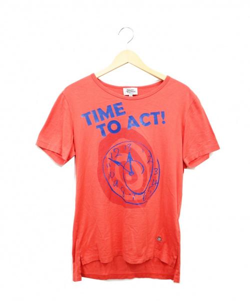 Vivienne Westwood man(ヴィヴィアン ウェストウッド マン)Vivienne Westwood man (ヴィヴィアンウエストウッドマン) ミニオーブ刺繍Tシャツ オレンジ サイズ:46  TIME TO ACTの古着・服飾アイテム