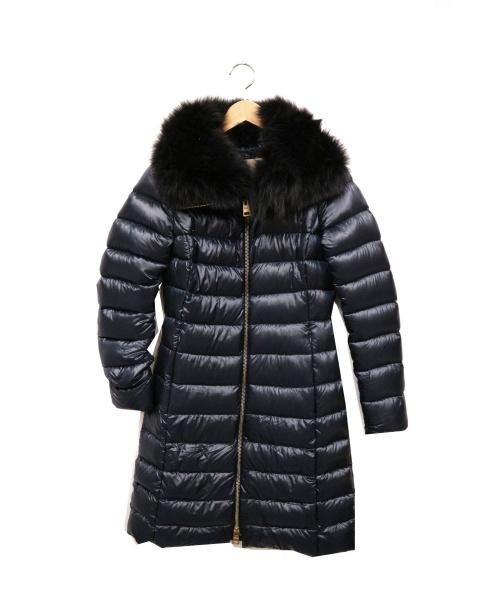 HERNO(ヘルノ)HERNO (ヘルノ) ファー付ダウンコート ネイビー サイズ:38 PI0650DIC 12017の古着・服飾アイテム