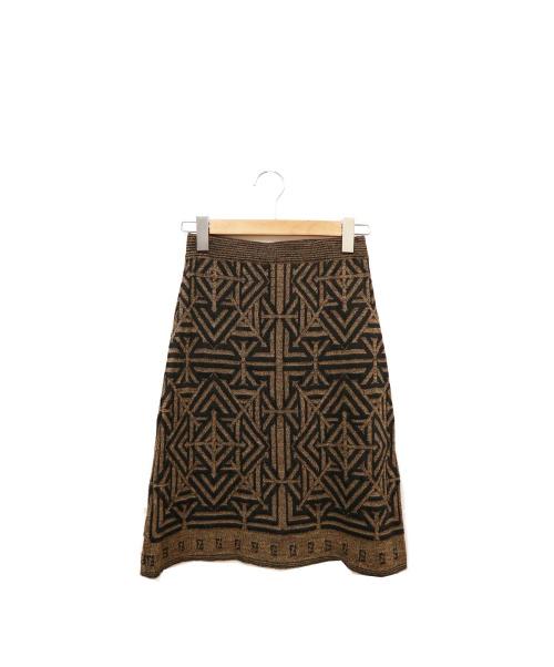 FENDI(フェンディ)FENDI (フェンディ) ニットスカート ブラウン サイズ:Mの古着・服飾アイテム