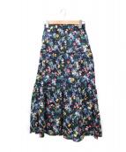 THE IRON(アイロン)の古着「フラワープリントロングスカート」 ネイビー