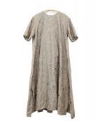 yuni(ユニ)の古着「フラワー刺繍ブラウスワンピース」 カーキ