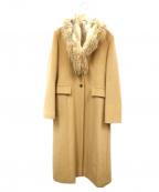 Gabardine K.T(ギャバシンケーティー)の古着「ファー付ロングコート」 ベージュ