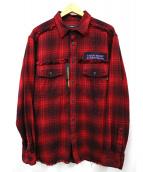 DIESEL(ディーゼル)の古着「リメイクデザインチェックシャツ」|レッド