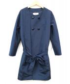 courreges(クレージュ)の古着「ノーカラーコート」|ネイビー