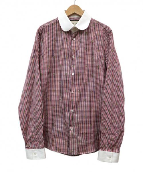GUCCI(グッチ)GUCCI (グッチ) BEEエンブロイダリーシャツ レッド サイズ:38/15の古着・服飾アイテム